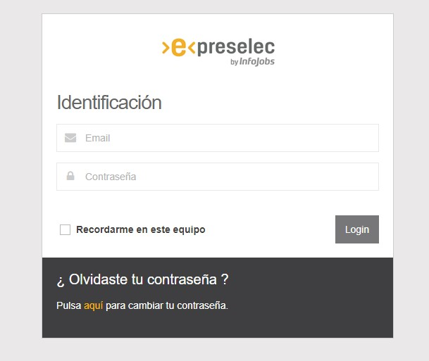 Captura login en ePreselec FCC