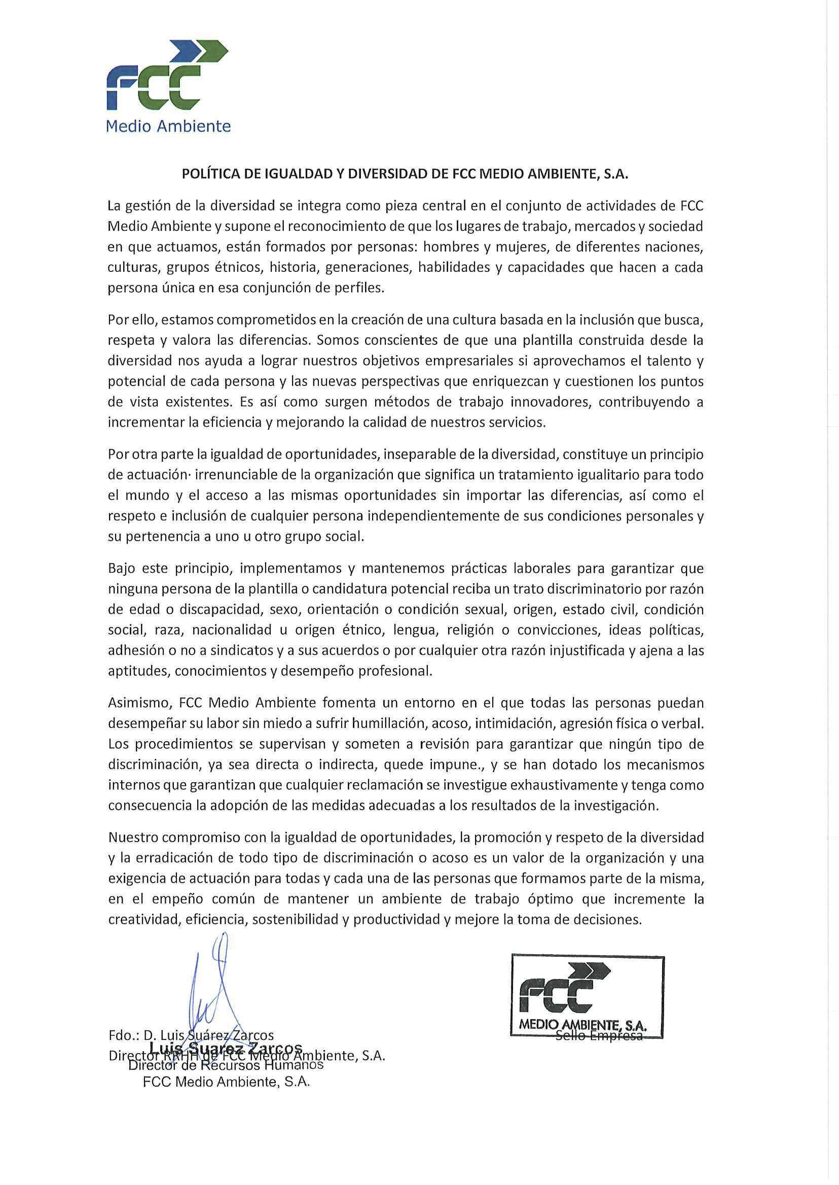 Equality and Diversity Policy of FCC Medio Ambiente